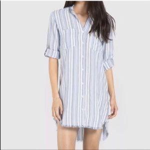 Cloth and stone striped frayed hem shirt dress S